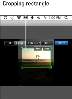 Adjust the cropping rectangle to crop the image in the clip.