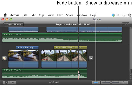 Click the Audio Waveform button and drag the Fade button to fade the audio at the end.
