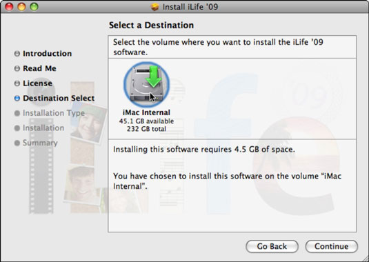 Select a destination drive for the iLife applications.