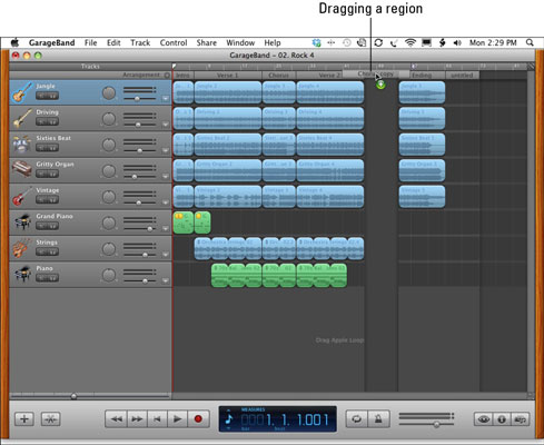 Copy the Chorus arrangement region and its music to another part of the song.