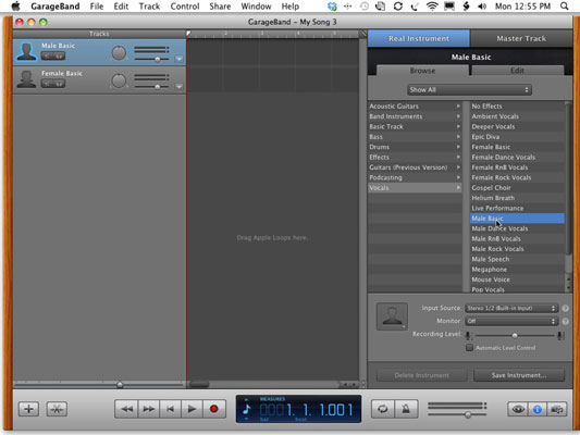 Change the setting of a Real Instrument track to Vocals.