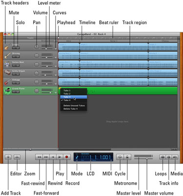 Open your project in GarageBand and choose a take.