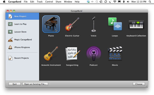 Click New Project and then choose an instrument to start with.