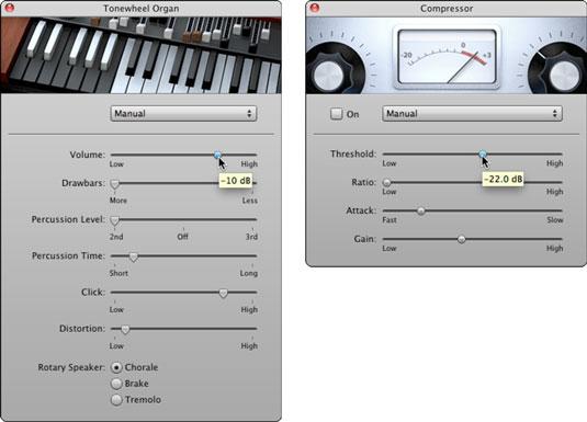 Adjust the Tonewheel Organ settings (left) and Compressor settings (right).