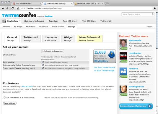 TwitterCounter start screen.