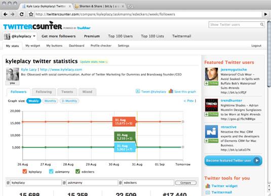 Twitter statistics for a TwitterCounter user.