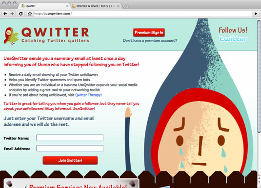 The Qwitter login page.