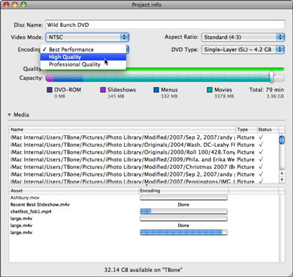 Check the project size and encoding progress or change encoding settings.