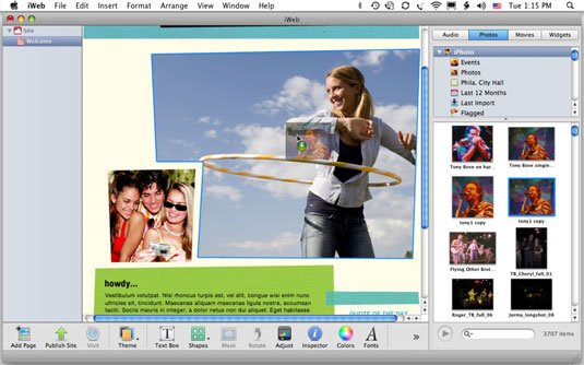 Drag a photo from the Media Browser to a placeholder image to change it.