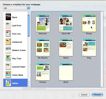 Select the Photos page template.