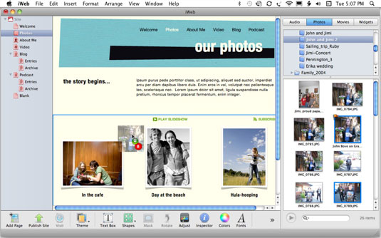 Drag a photo or an entire album to the page.