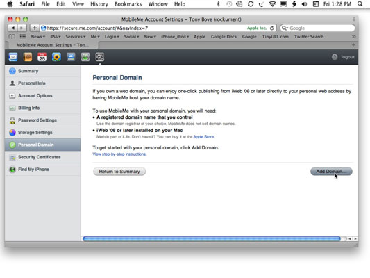 Add your personal domain to MobileMe.