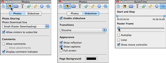 Change settings for a photo album (left), slideshow (center), and video (right).