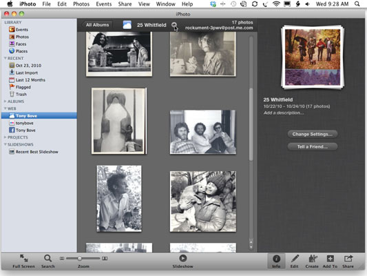 Manage the album in your MobileMe Gallery and edit its information.