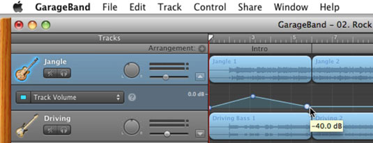 Click and then drag a point on the automation curve for Track Volume.