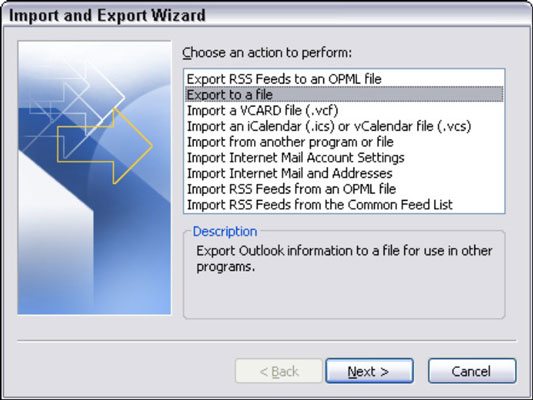 Outlook's Export and Import wizard.