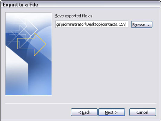 Export to a file dialog box in Outlook.