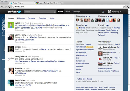 Twitter home page.