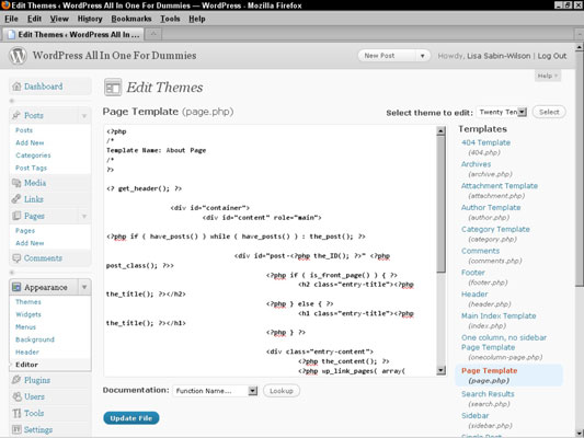 The Page template displays the code needed to define a specific name for the template.
