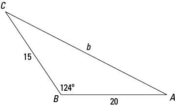 A sample triangle that allows for the law of cosines.