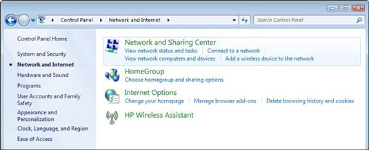 The Network and Internet section of the Windows Control Panel.