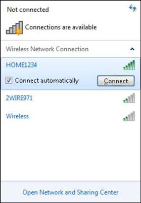 The Wireless Network pop-up screen in Windows.