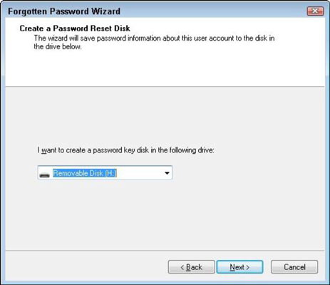 Select the drive that contains the password reset disk.