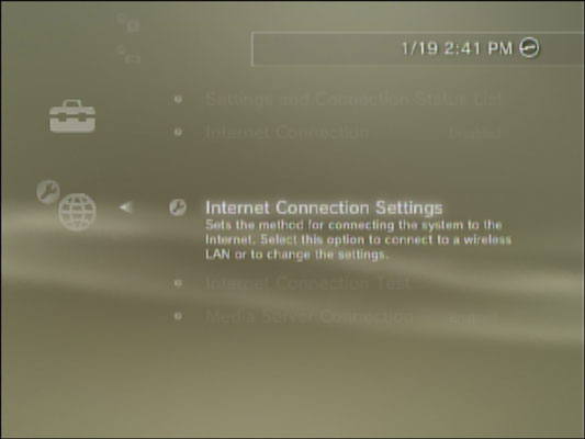 Internet Connection Settings in a PS3.