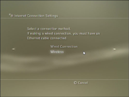 PS3 lets you choose between a wireless and a wired connection.