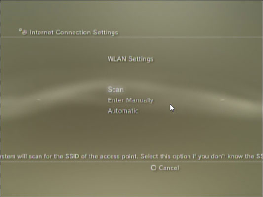 WLAN Settings screen in a PS3.