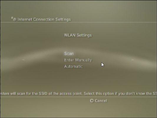 WLAN Settings screen in a PS3.