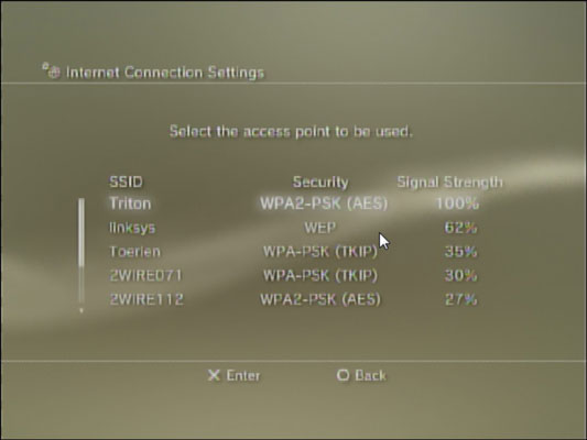 Viewing all available networks on the PS3.