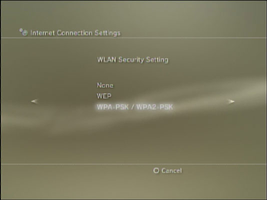 Setting up a WLAN connection for a PS3.