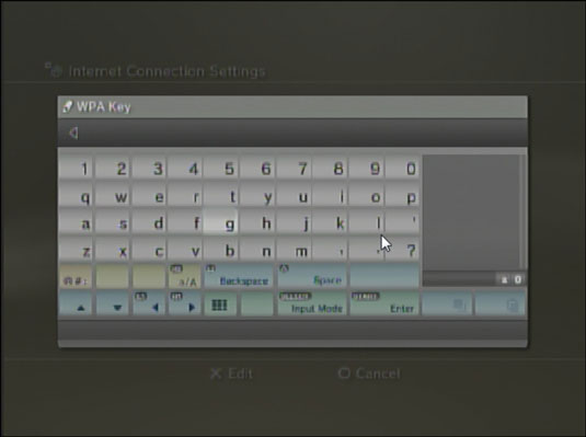 Pop-up keyboard in PS3.