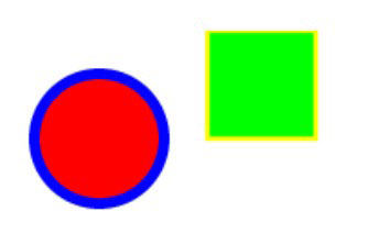 Red circle and green square created with sample SVG code.