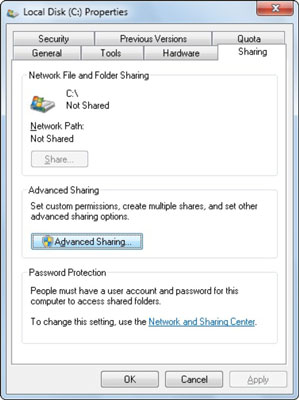 How to Share an Entire Hard Disk on a Windows 7 Home Network - dummies