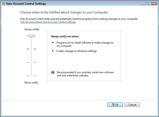 How to Change User Account Control Settings in Windows 7 - dummies
