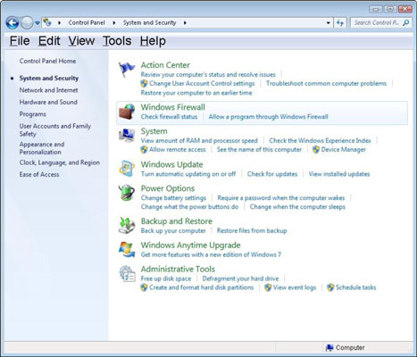 The System and Security section of the Windows Control Panel.