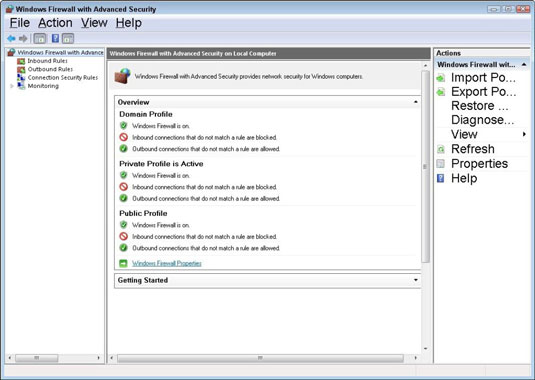 The Windows Firewall with Advanced Security window