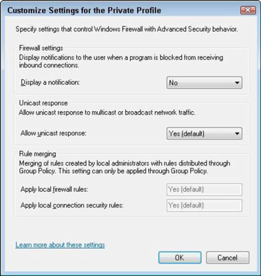 The Customize Settings for the Private Profile dialog box