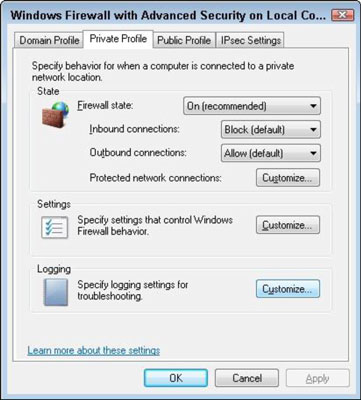 The Private Profile section in the Windows Firewall dialog box.