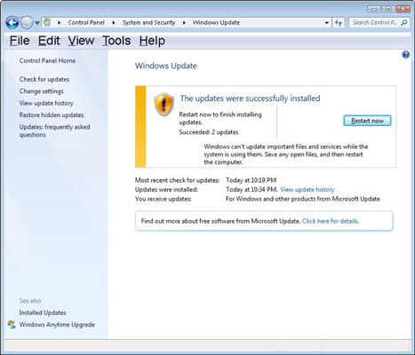 How to Manually Check for Windows 7 Updates - dummies