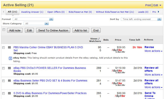 How To Manage Your Ebay Sales Dummies