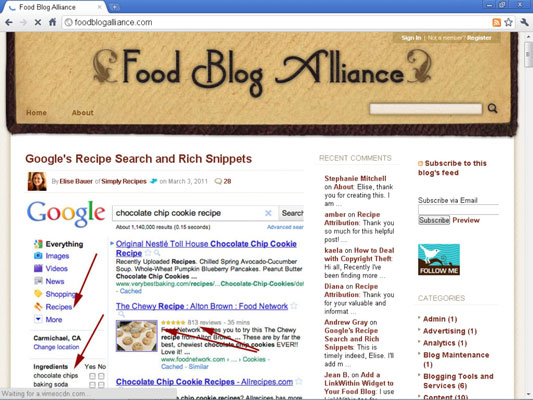Elise Bauer gives back to the blogging community with the Food Blog Alliance.
