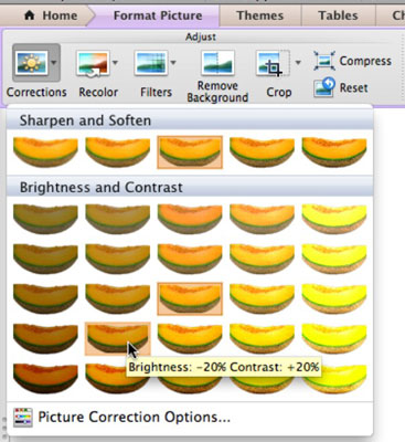 Picture corrections that you can do on the Office for Mac Ribbon.
