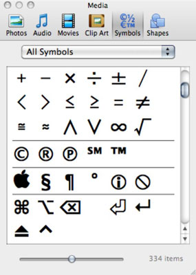 Inserting Symbols and Special Characters in Office 2011 for