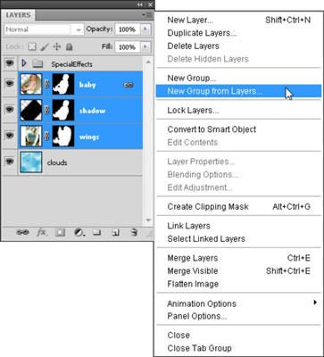 Select the layers that you want to group together and then choose New Group from Layers.