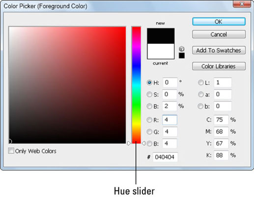 Use the Color Picker or enter numeric values to select color in the color panel.