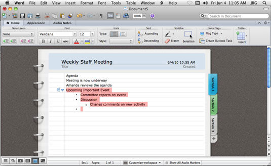 using notebook layout view in word for mac 2011 dummies