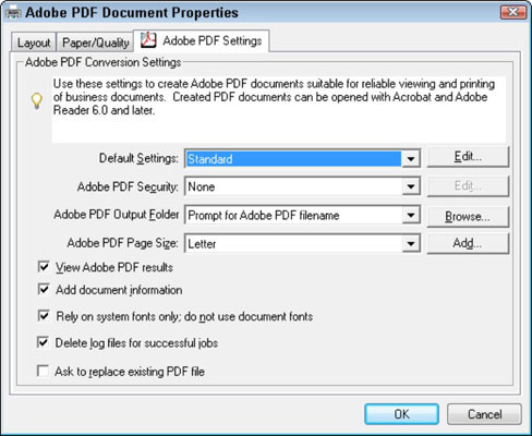 You can change conversion settings when printing to the Adobe PDF printer.
